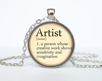Artist necklace vintage dictionary definition of Artist word pendant word Artist jewelry