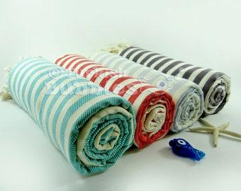 S A L E, Towel Set of 4, Beach Towel, Peshtemal, Turkish Towel, Bridesmaid Gift, Beach Wedding Gift, Turkish Bath Towel, Fouta
