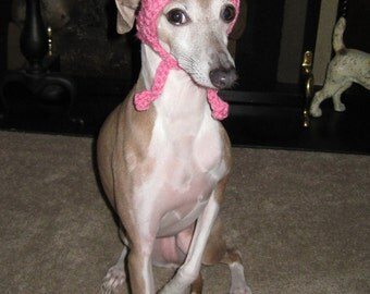 Dog Hat - Pink and Brown Striped Dog Hat with Pom Pom for Small, Medium and Large Breed Dogs and Cats