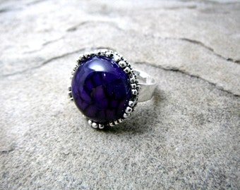 Purple Agate Ring, Purple Cabochon Ring, Purple Stone Ring, Purple Gemstone Ring, Purple Ring, Adjustable Ring, Agate Jewelry