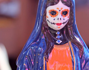 Upcycled Day of the Dead Virgin Mary