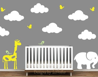 Animals with Fluffy Clouds Vinyl Wall Mural