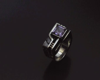 "Sterling Silver Steampunk Ring ""Agererendum"" with Amethyst 