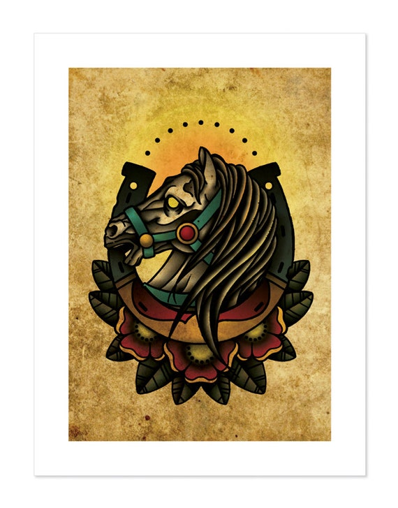 Lucky Horseshoe Horse Neo-Traditional Tattoo Flash by ...