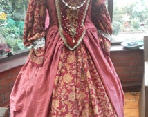 Tudor gown headress & hooped underskirt custom made for you medieval Anne bolyne gown and headress to your own measurements and colors
