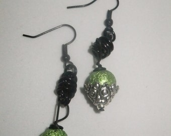 Black Coil Drop Earrings with Green and Silver