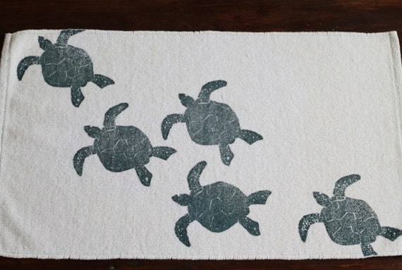 Turtle Bathroom Decor: Bath Rug Bath Mat SEA TURTLE Cotton Chenille Rug