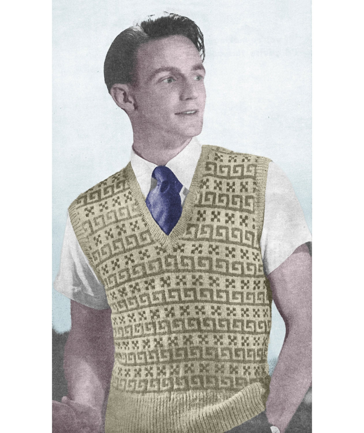 1940s Knitting Pattern for Mens Fair Isle Pullover / Sweater