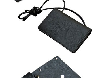 BLACK COLLECTION--Small Faux leather cross-body/shoulder bag with mirror-effect acrylic sheet decoration(small)