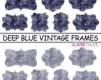 """Digital clipart labels: """"Deep blue VINTAGE FRAMES"""" grunge clipart frames, labels, tags on vintage blue background"""