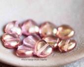 10 Pink Picasso 8mm Heart Czech Glass Beads (SB028)