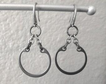 Chain Earrings, Urban Earrings, Black Hoop Earrings, Industrial Metal Jewelry, Drop Hoop Earrings, Hardware Jewelry, Black Metal Earrings