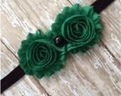 Emerald Green and Black Shabby Chic Flower Headband, Baby Headband, Toddler Headband, Girls Headband, Elastic Headband, Hair Bow,