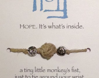 Wrist Full of Hope: Monkey's Fist Bracelet woven from all-natural hemp cord with bead accent.