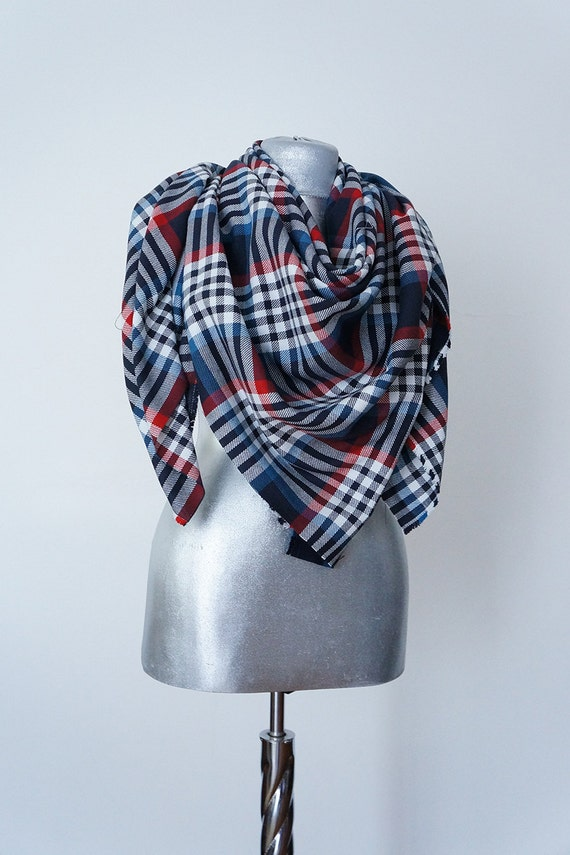 Scarf Handmade Plaid Blanket Scarf Cotton Blue Red Black