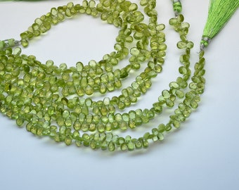 """4.5"""" Strand 4x6-5x7mm Natural Peridot Faceted Pear Shape Briolette Beads Strand"""