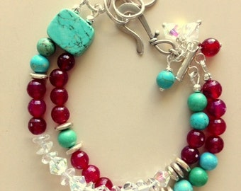 Faceted Ruby Agate, Turquoise, Crystal and Sterling Silver Multi-2 Strand Bracelet