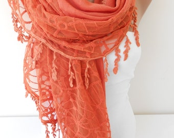 Valentines Gift Scarf NEW Soft Cotton Scarf Shawl Halloween Scarf Cowl Scarf with Lace Edge Large Scarf Women Fashion Accessories Gift Ideas