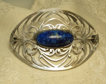 Beautiful vintage large antique Art Nouveau Arts and Crafts early Napier E.A Bliss hand wrought silver blue art glass pin brooch