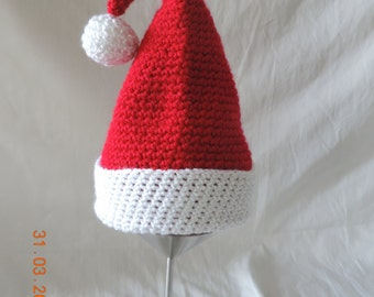 Crochet Santa Hat size 3-6m