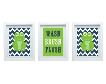 Kids Bathroom Wall Decor Bathroom Rules Girl Or Boy Bathroom Decor Frog Wall Art Set Of