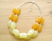 Mustard Yellow and Light yellow Statement necklace, yellow chunky necklace