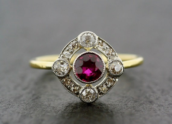 Art Deco Antique Engagement Ring Art Deco Ruby Amp Diamond