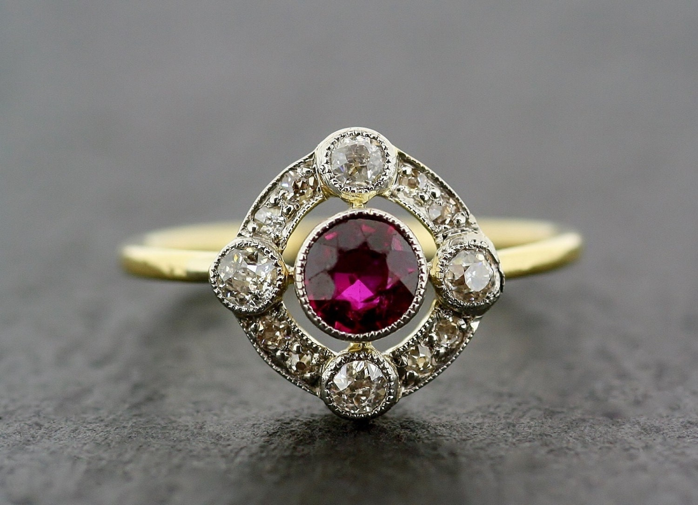 Art deco antique engagement ring art deco ruby diamond for Art craft engagement rings