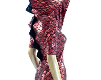 Devil Red & Black Scale Holographic Dragon Spiked Hoodie Romper with Sharp Shoulders  Dinosaur Lizard   -E8188