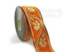 Woven Border Carnation Embroidered Ribbon Sewing Trim Orange and Golden Jacquard Ribbon 1 Meter ( 1.09 Yards, 3.3 feet )