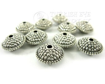 10 pc Weighty Spacer Beads, Tibetan Silver Spacer Beads, Antique Silver Plated Bali Style Bead Spacer
