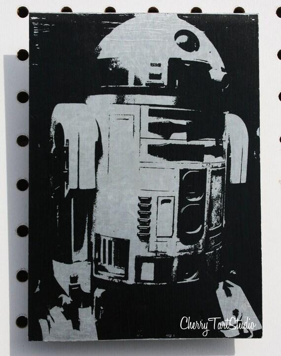 R2d2 Black And White Print on Metal 5x7 R2D...