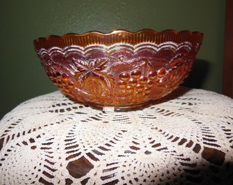 Carnival Glass; Imperial, Grape Berry Bowl