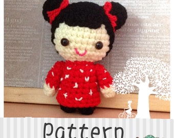 Crochet pattern doll: Oriental Hair Bun Girl Doll crochet tutorial Instant Download