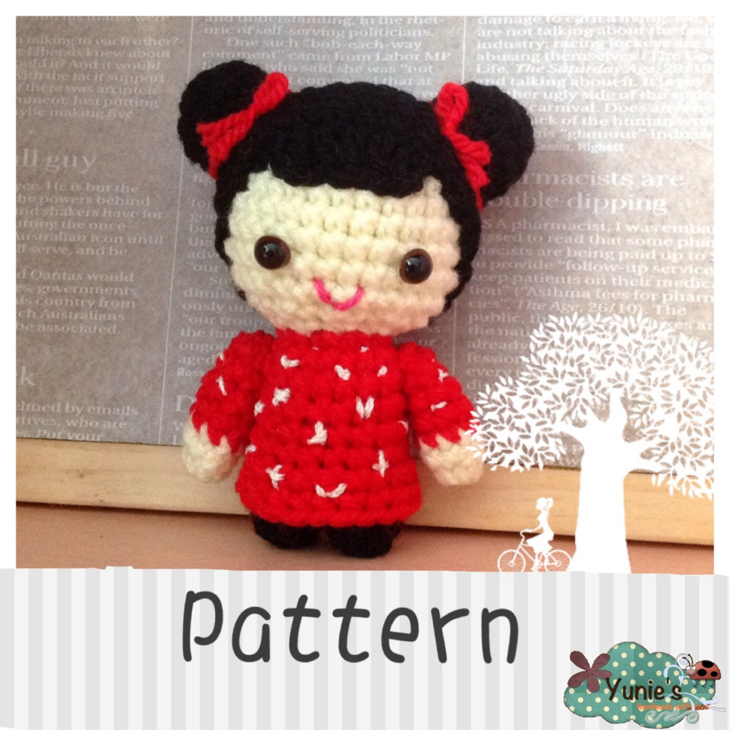 Crochet Hair Doll : Crochet pattern doll: Oriental Hair Bun Girl Doll by Yunies