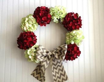 Dark red and light green hydrangea wreath. Christmas wreath, wreath for christmas, holiday wreath, wreath for holidays,christmas decor
