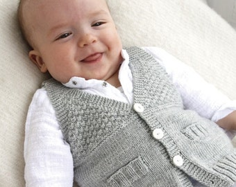Baby Boy Knit Waistcoat Sweater, Newborn to all Toddler sizes