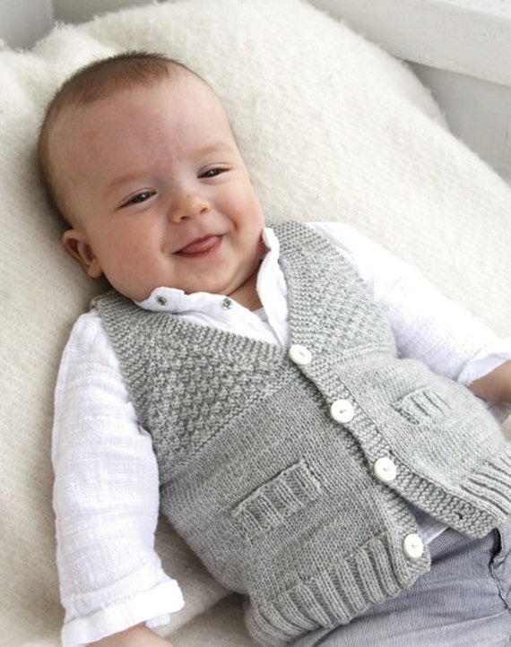 Knitting Patterns For Toddler Boy Sweaters : Baby Boy Knit Waistcoat Sweater Newborn to all Toddler sizes