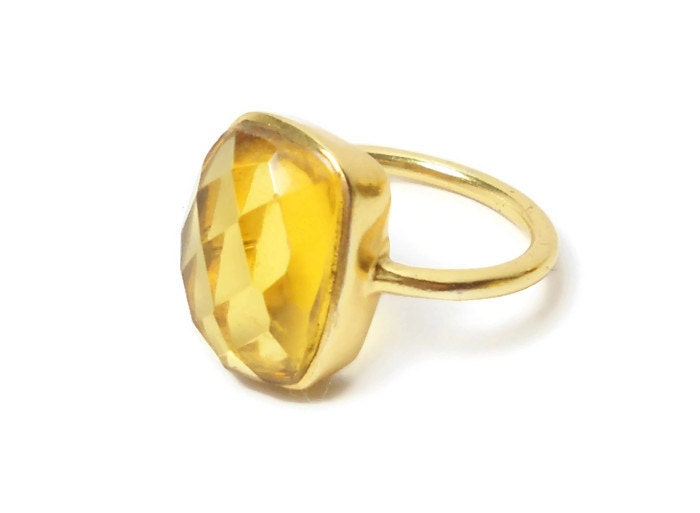yellow citrine gold ring large emerald cut by
