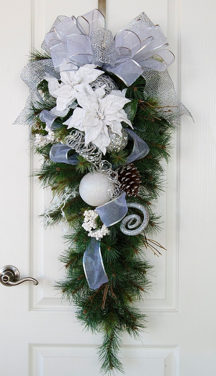 Snowy Christmas Swag Silver And White Christmas Wreath