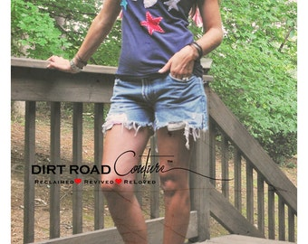 Oh My Stars! Vintage Upcycled tee by Dirt Road Couture