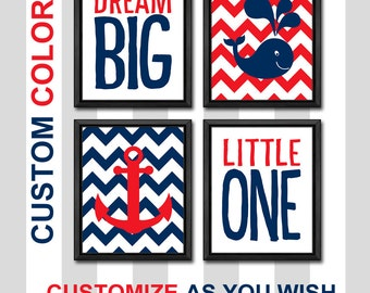 dream big little one baby quote whale anchor boy nursery art ocean nursery nautical new baby decor nautical kids room decor nursery poster