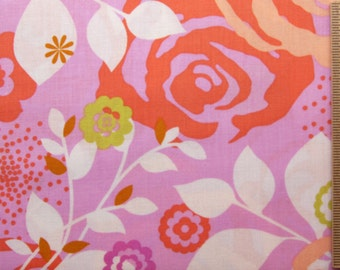 Erin McMorris fabric Weekends Saturday EM21 Pink white red floral 100% Cotton Fabric Sewin Quilting fabric by the yard freespirit