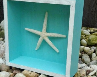Wooden Starfish Shadow Box Wall Art // Light Blue // Nautical // Handmade // Home Décor // Hanging // Beach // Shabby Chic // Cottage Chic