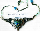 RESERVED* OOAK Peacock Heart w Wings, Beaded Chain w Blue & Green Crystal, Antique Bronze w Faceted Cabochon, Unique Statement Necklace!