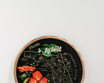 Florida Serving Tray - Hibiscus Flower and Map
