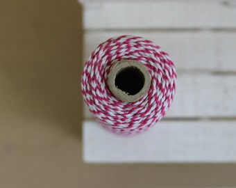 FUCHSIA Baker's twine - full spool of 110 yards - 100M - hot pink & white - BT03