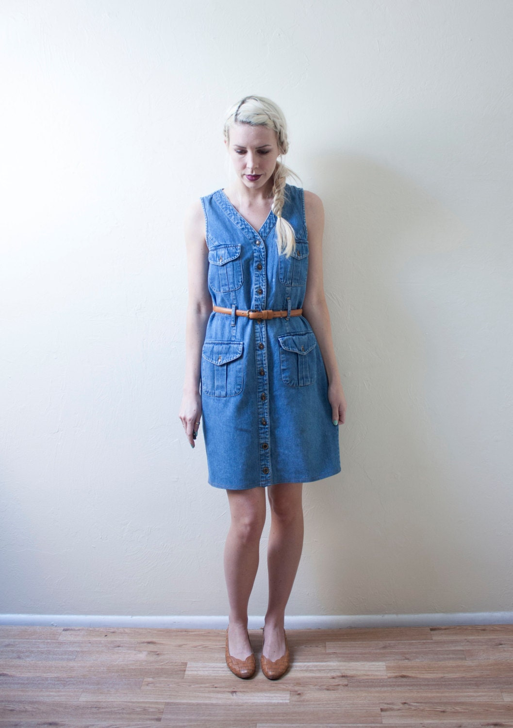 Denim Sleeveless Vintage Button Down Dress // Jumper