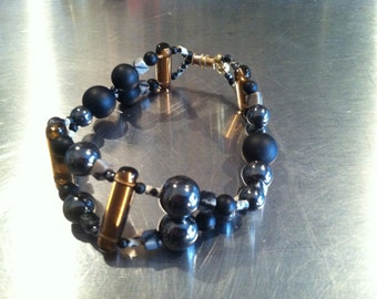 Onyx, Hematite, Dalmaetion and Marbled Jasper, Czech Glass, and Gold Plated Beads Bracelet