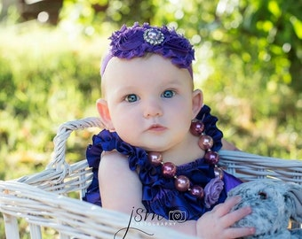 Purple Satin Romper Set-Includes Romper, Chunky Necklace & Headband